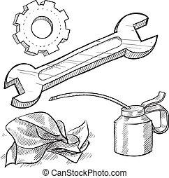 objekt, mekaniker, skiss