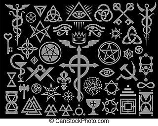 ockult, edition), magi, medeltida, frimärken, svart, undertecknar, (silver