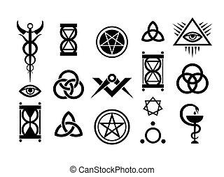 ockult, frimärken, magi, undertecknar