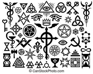 ockult, magi, medeltida, (origin, set), frimärken, undertecknar
