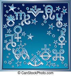 ockult, mystiskt, symbols., utdrag, diadem, någon, astrologiska, undertecknar, ny