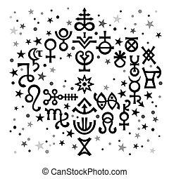 ockult, symbols), himmelsk, astrologiska, bukett, mönster, black-and-white, mystiskt, stars., bakgrund, undertecknar, (astrological