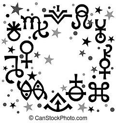ockult, symbols), himmelsk, astrologiska, diadem, mönster, black-and-white, mystiskt, stars., bakgrund, undertecknar, (astrological