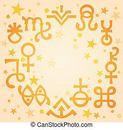 ockult, symbols), himmelsk, astrologiska, diadem, mönster, morgon, mystiskt, stars., varm, bakgrund, undertecknar, (astrological