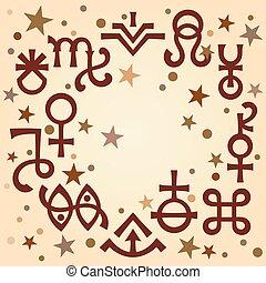 ockult, symbols), himmelsk, astrologiska, diadem, mönster, mystiskt, stars., bakgrund, undertecknar, antikvitet, (astrological