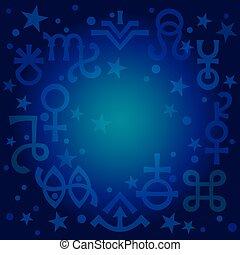ockult, symbols), himmelsk, diadem, blåkopia, pattern., mystiskt, astrologiska, undertecknar, (astrological