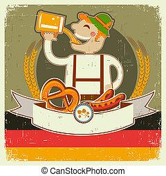 oktoberfest, text, papper, gammal, illustration, posterl, man, beer., vektor, tysk, årgång
