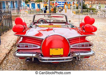 oldtimer, baksida, röd bil