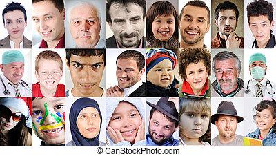 olik, folk, collage, åldern, gemensam, kulturer, uttryck, lott