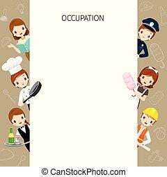 olik, sätta, folk, ram, ockupationerna