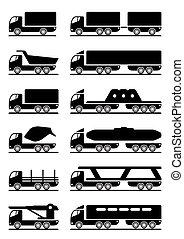 olik, slagen, lastbilar