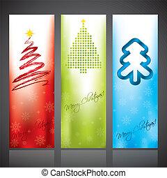 olika, formen, träd, baner, jul