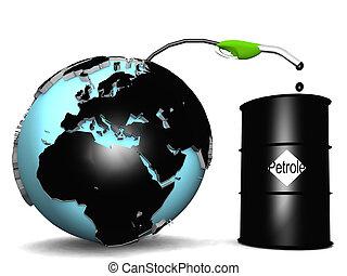 olja, petroleum, kommande, mull, trumma, ute