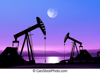 olja pumpar, natt