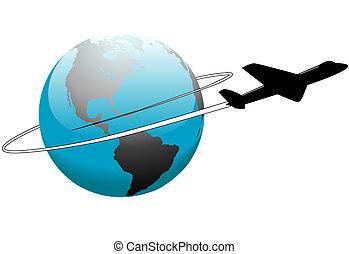 omkring, resa, flyglinje, mull, värld, airplane