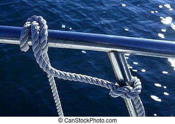omkring, stänkskärm, knyta, flotta, båt, läsida