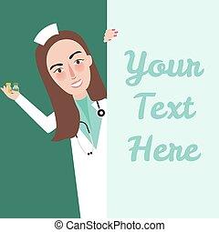 område, text, medicinsk, hej, säga, holdingen, tom, medicin, flicka, sköta, personal