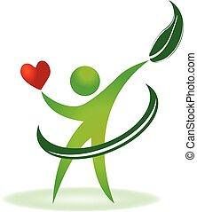 omsorg, logo, hälsa, hjärta, natur