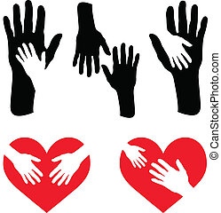omsorgen, hjärta, sätta, röd, hand