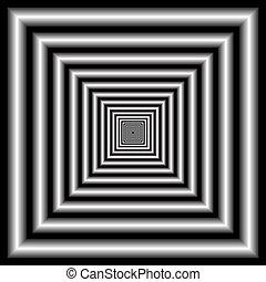 optisk illusion, tunnel.