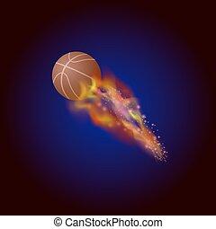 orange basket, boll, brännande, ikon