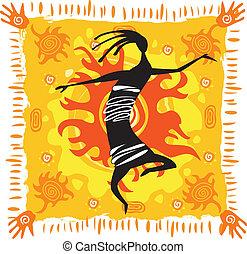orange fond, figur, dansande