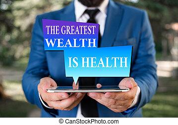 ord, länk, begrepp, offer, hälsosam, just, affär, skrift, topp, störst, följe, sköte, fästen, vara, hands., många, rikedom, blå, text, health., pengar, deras, affärsman