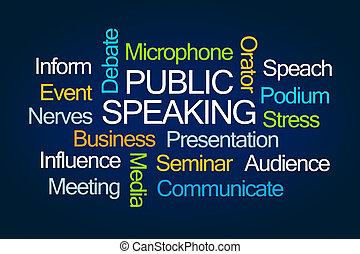 ord, talande, publik, moln