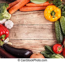 organisk, utrymme, grönsaken, text., mat., ved, bakgrund