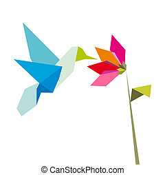 origami, vita blomma, kolibri