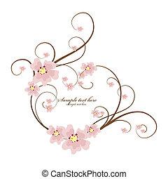 ornamental, hjärta, text, ram, plats, din