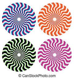 ornamental, hjul, optisk