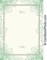 ornamental, ram, vektor, grön fond, blommig