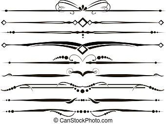 ornamental, sätta, vectorized, avdelare, fodrar, härska