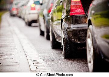 orsaka, regna, trafik, motorväg, marmelad, översväm