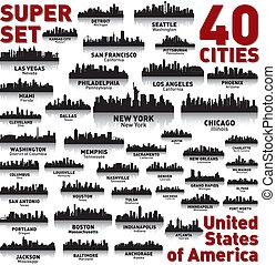 otrolig, påstår, enigt, set., horisont, stad, america.