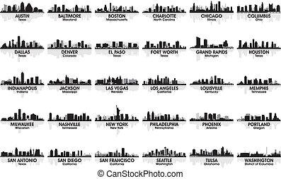 otrolig, skyline., 30, cities., usa, sätta, stad