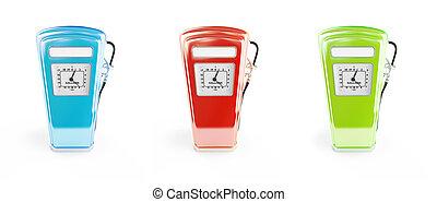 påfyllningar, olik, illustration, äldre, bensin, framförande, färger, bakgrund, vit, 3