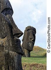påsk, chile, ö, moai-