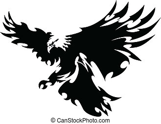 påskyndar, örn, maskot, design, flygning
