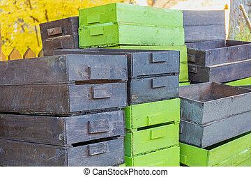 packkorgar, rutor, stack