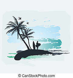 palm, bränning, träd