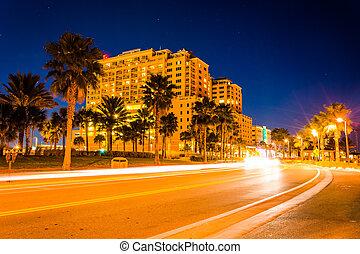 palm, gripande, färd, trafik, träd, coronado, förbi, hotell