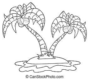 palm trä, skissera, ö, två