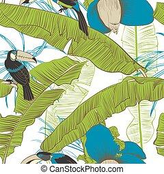 palms., illustration., mönster, seamless, tropisk, vektor, banan