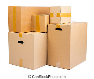 papp, bakgrund, isolerat, stack, rutor, vit