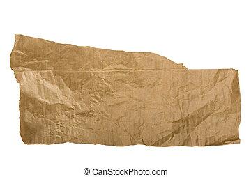 papper, brun, vit, sönderrivet, stycke
