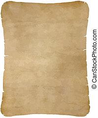 papper, gammal, pergament