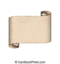papper, gammal, rulla