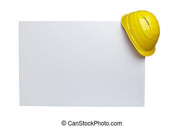 papper, hjälm, konstruktion, workwear, anteckna, skyddande